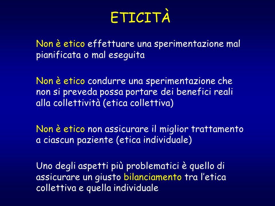 ETICITÀ Non è etico effettuare una sperimentazione mal pianificata o mal eseguita.