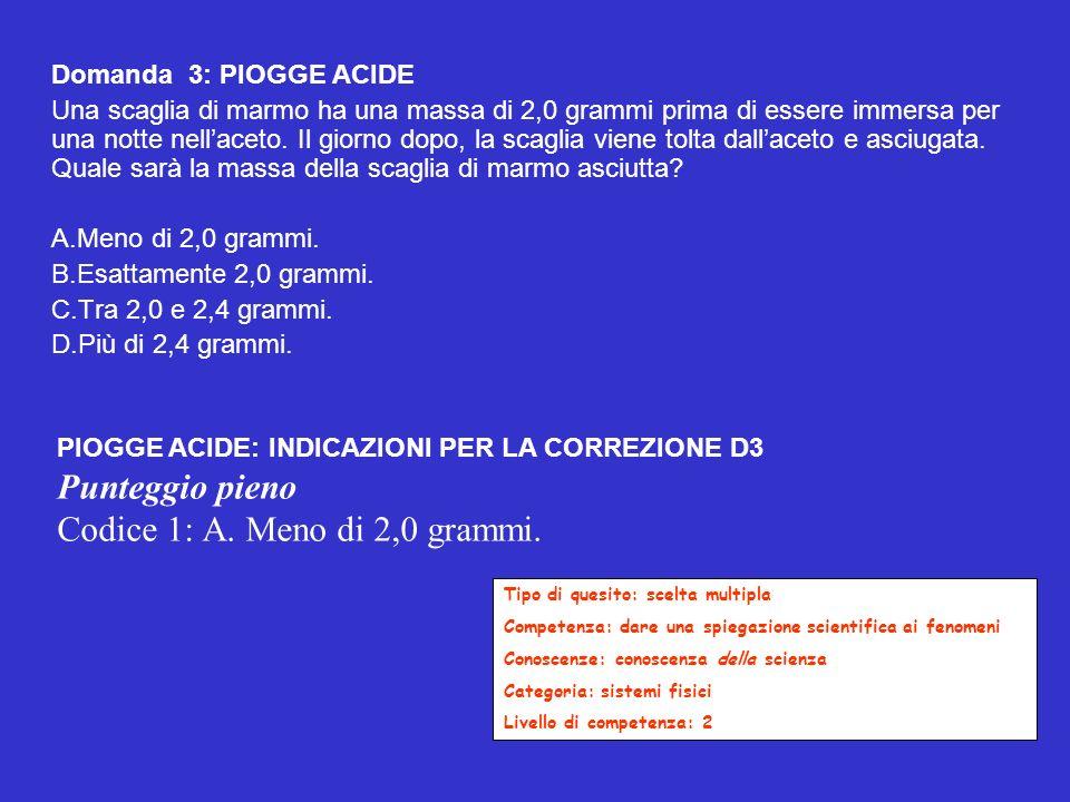 Codice 1: A. Meno di 2,0 grammi.