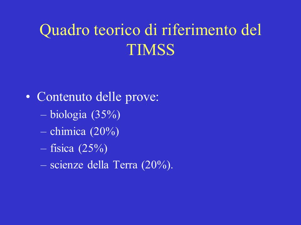 Quadro teorico di riferimento del TIMSS