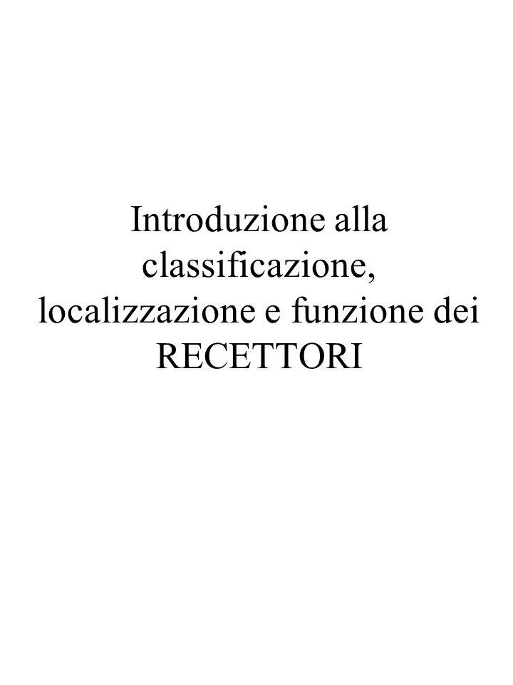 Introduzione alla classificazione, localizzazione e funzione dei RECETTORI