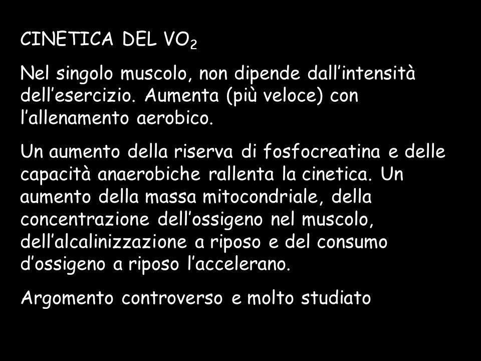 CINETICA DEL VO2Nel singolo muscolo, non dipende dall'intensità dell'esercizio. Aumenta (più veloce) con l'allenamento aerobico.