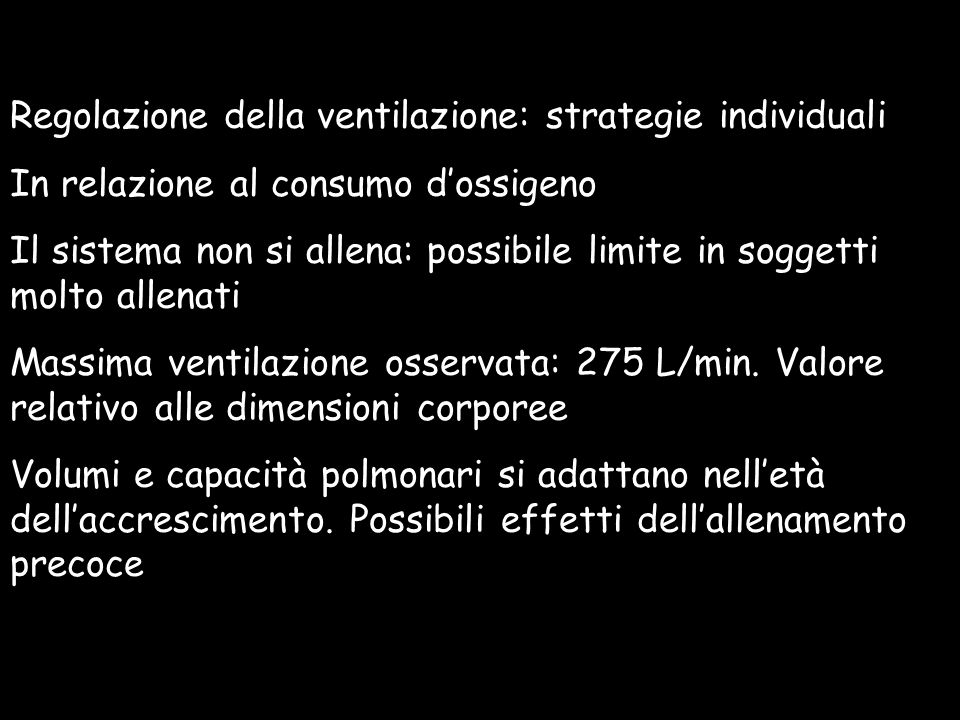 Regolazione della ventilazione: strategie individuali