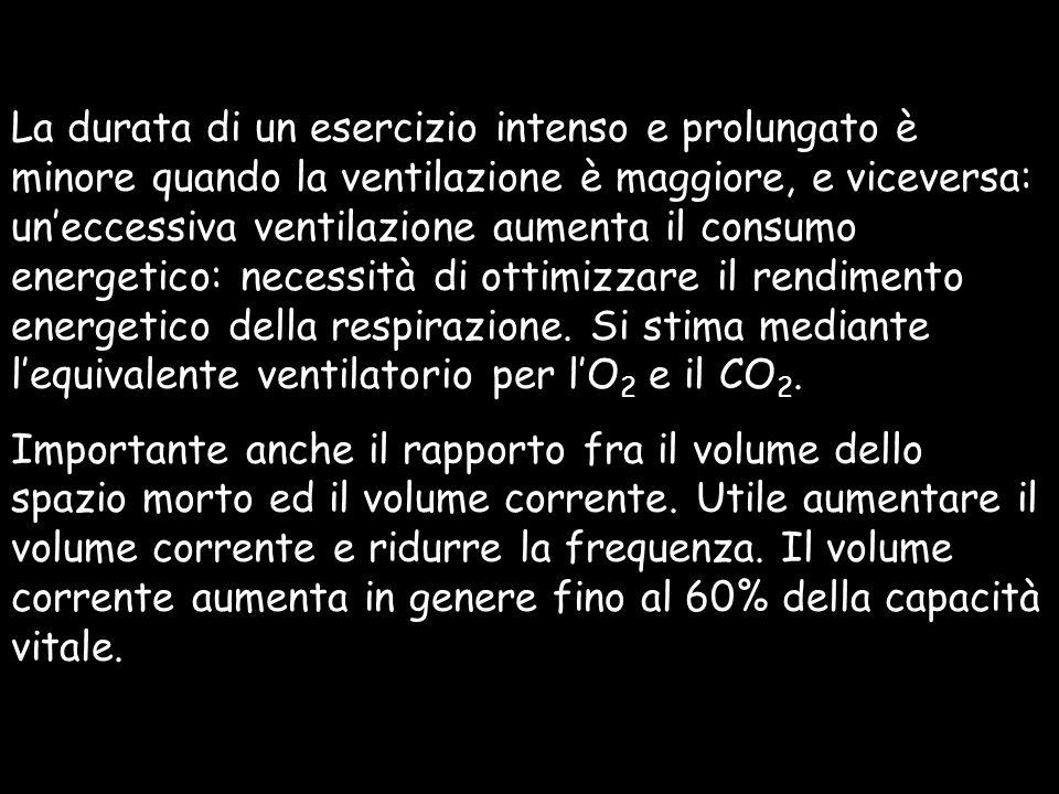 La durata di un esercizio intenso e prolungato è minore quando la ventilazione è maggiore, e viceversa: un'eccessiva ventilazione aumenta il consumo energetico: necessità di ottimizzare il rendimento energetico della respirazione. Si stima mediante l'equivalente ventilatorio per l'O2 e il CO2.