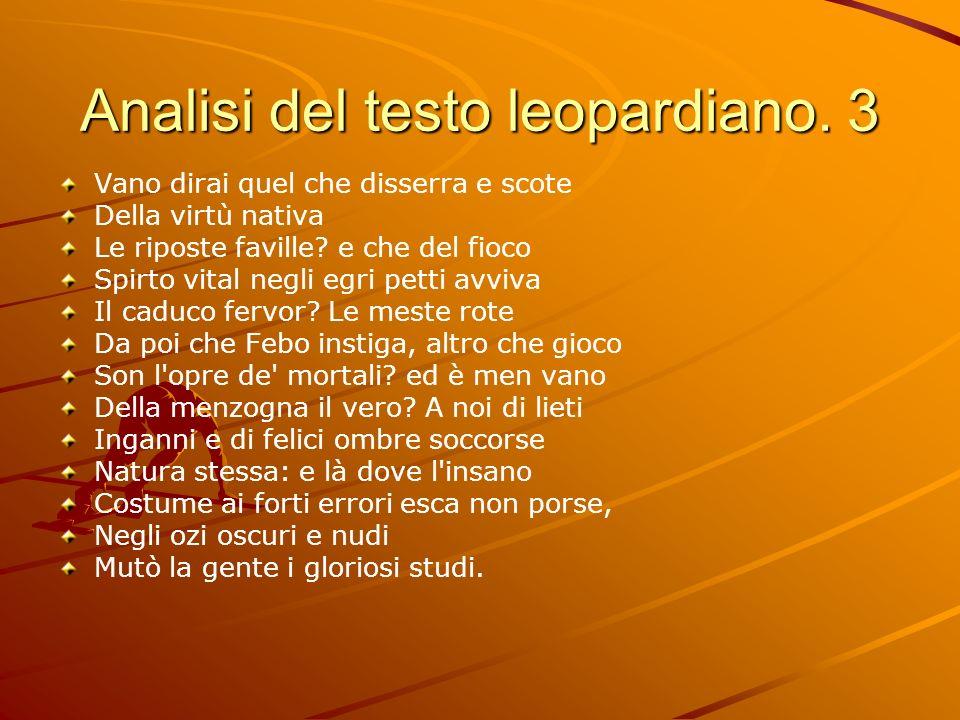 Analisi del testo leopardiano. 3