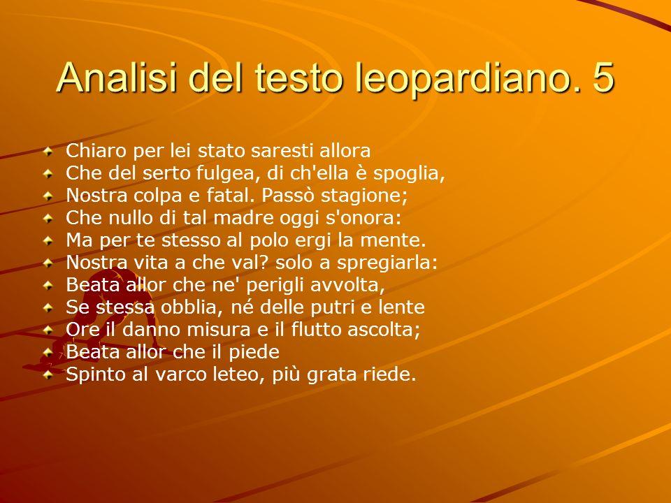 Analisi del testo leopardiano. 5