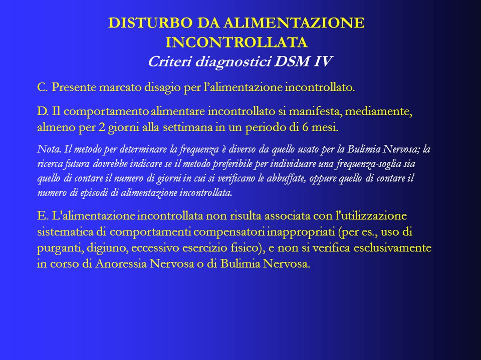 DISTURBO DA ALIMENTAZIONE INCONTROLLATA Criteri diagnostici DSM IV