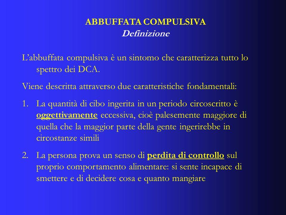 ABBUFFATA COMPULSIVADefinizione. L'abbuffata compulsiva è un sintomo che caratterizza tutto lo spettro dei DCA.