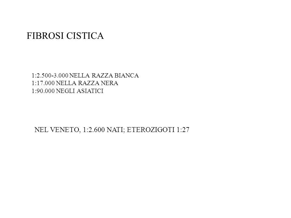FIBROSI CISTICA NEL VENETO, 1:2.600 NATI; ETEROZIGOTI 1:27