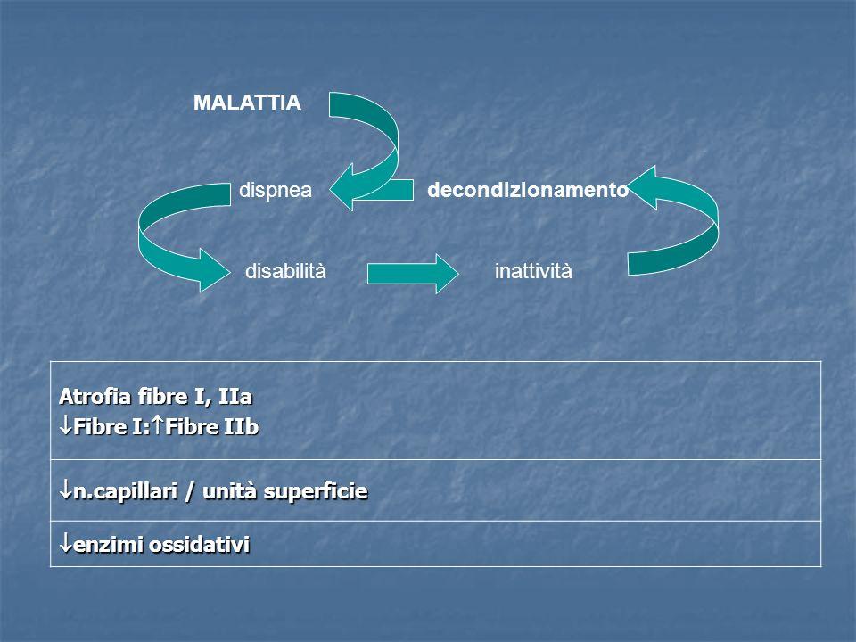 MALATTIA dispnea. disabilità. inattività. decondizionamento. Atrofia fibre I, IIa. Fibre I:Fibre IIb.