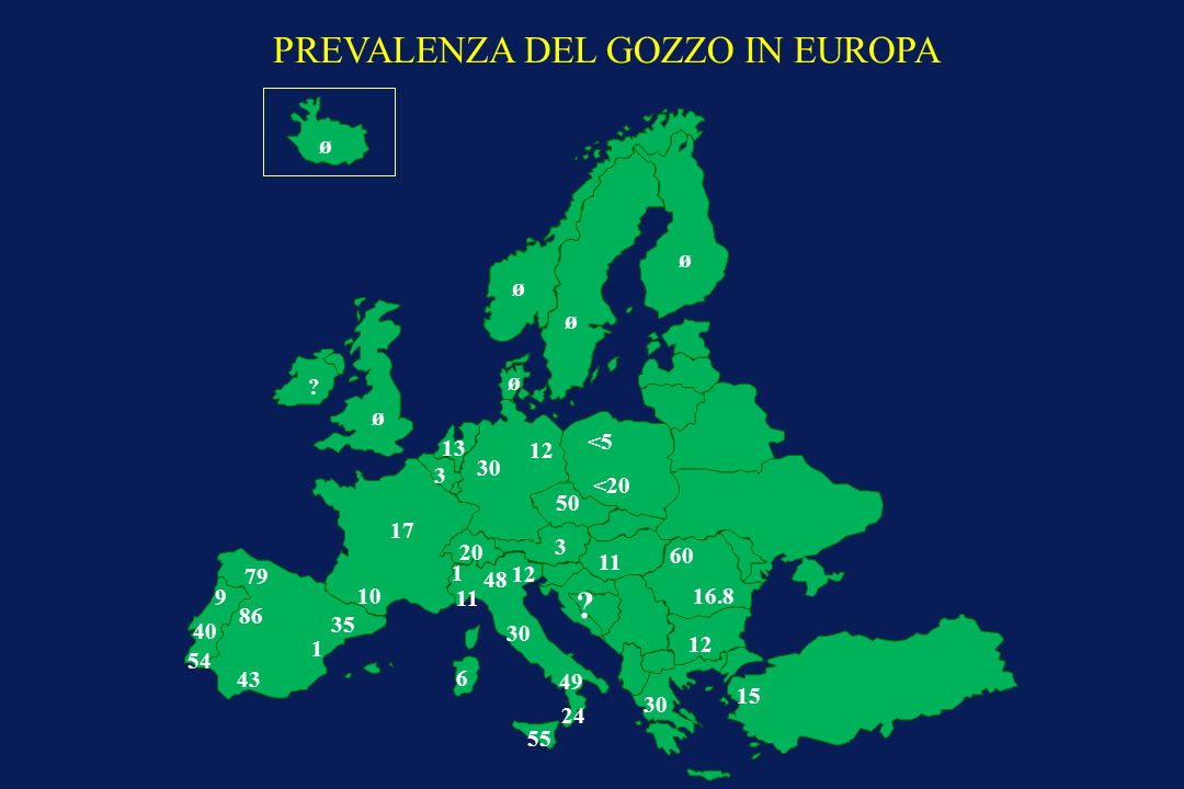 PREVALENZA DEL GOZZO IN EUROPA