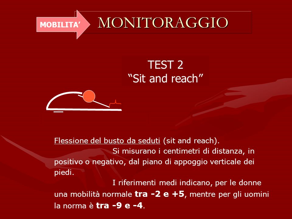 MONITORAGGIO TEST 2 Sit and reach MOBILITA'