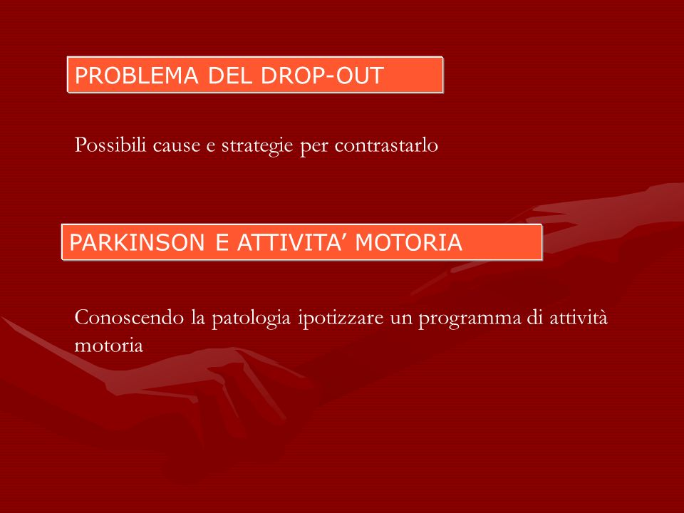 PROBLEMA DEL DROP-OUT Possibili cause e strategie per contrastarlo. PARKINSON E ATTIVITA' MOTORIA.