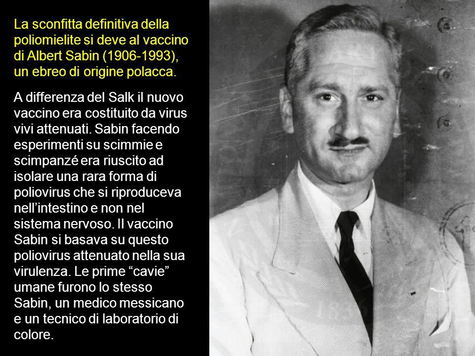 La sconfitta definitiva della poliomielite si deve al vaccino di Albert Sabin (1906-1993), un ebreo di origine polacca.