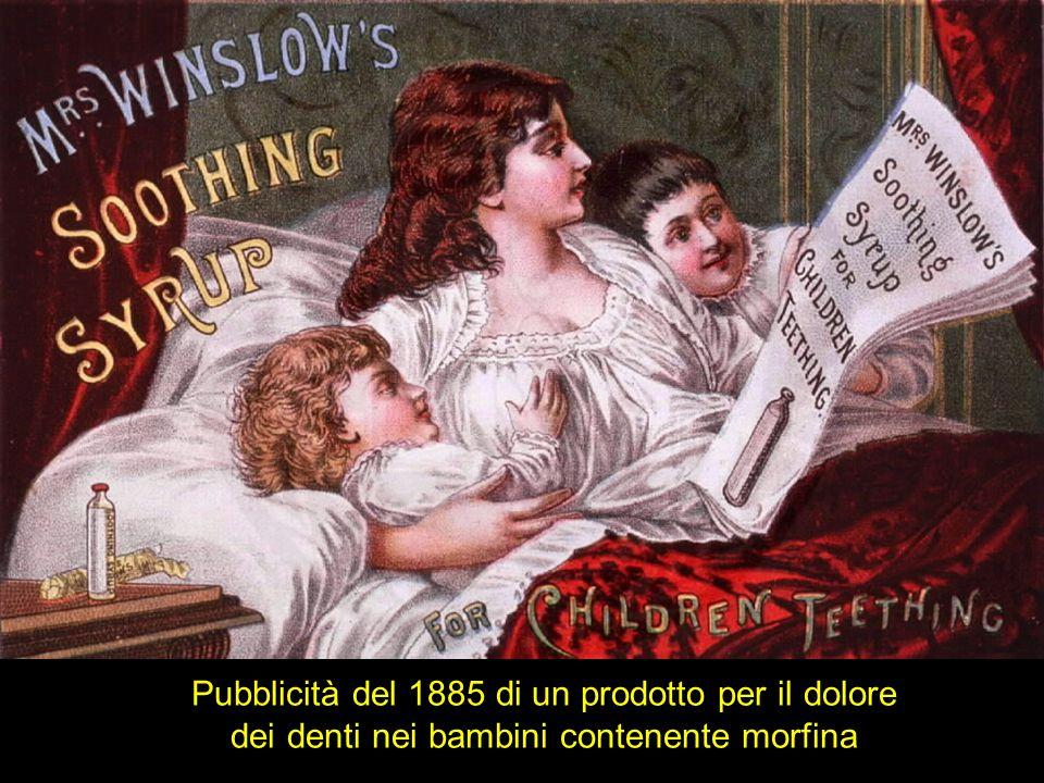 Pubblicità del 1885 di un prodotto per il dolore dei denti nei bambini contenente morfina