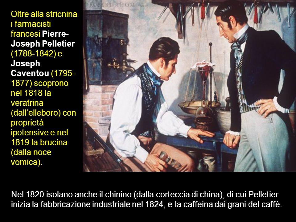 Oltre alla stricnina i farmacisti francesi Pierre-Joseph Pelletier (1788-1842) e Joseph Caventou (1795-1877) scoprono nel 1818 la veratrina (dall'elleboro) con proprietà ipotensive e nel 1819 la brucina (dalla noce vomica).