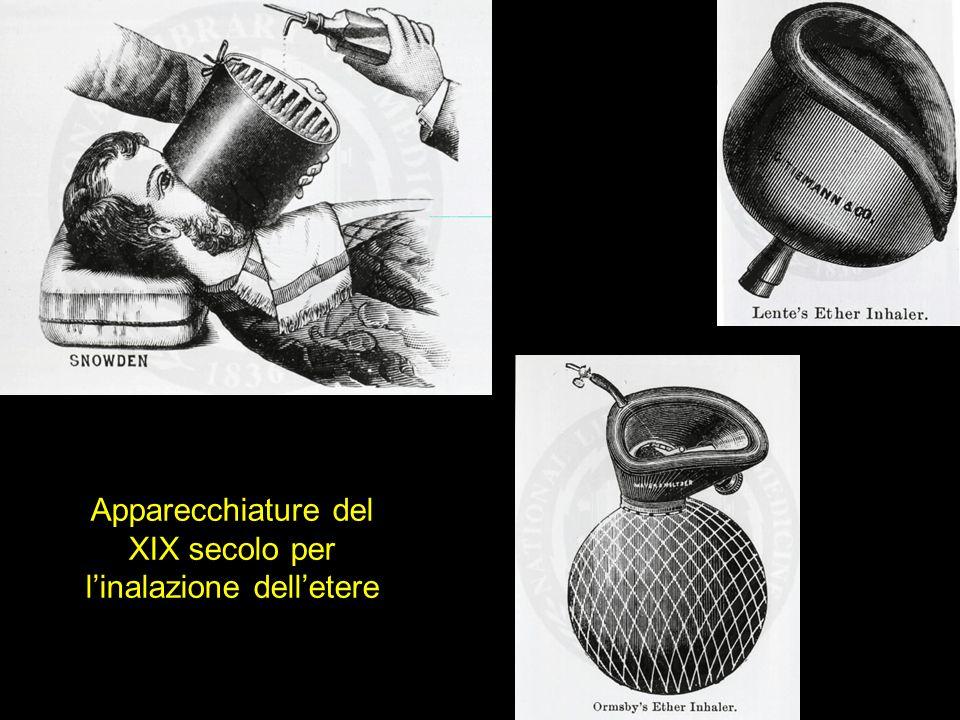 Apparecchiature del XIX secolo per l'inalazione dell'etere