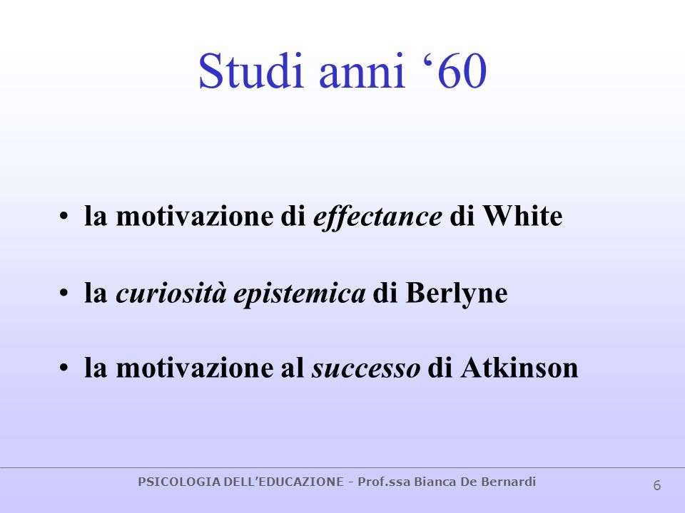 Studi anni '60 la motivazione di effectance di White