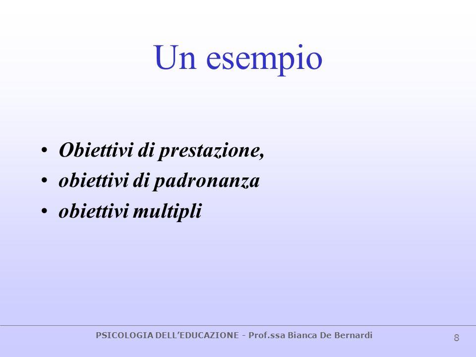 Un esempio Obiettivi di prestazione, obiettivi di padronanza