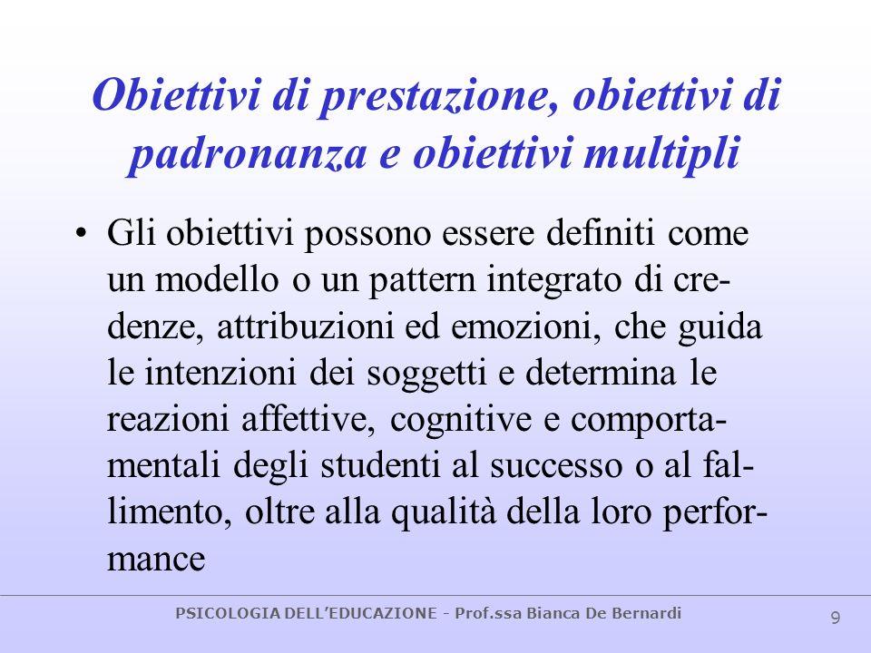 Obiettivi di prestazione, obiettivi di padronanza e obiettivi multipli