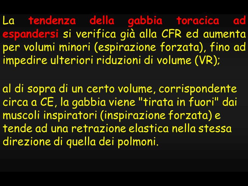 La tendenza della gabbia toracica ad espandersi si verifica già alla CFR ed aumenta per volumi minori (espirazione forzata), fino ad impedire ulteriori riduzioni di volume (VR);