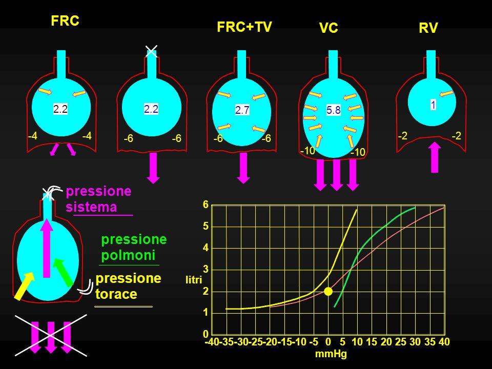 FRC FRC+TV VC RV pressione sistema pressione polmoni pressione torace