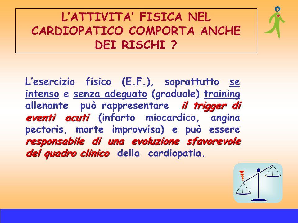 L'ATTIVITA' FISICA NEL CARDIOPATICO COMPORTA ANCHE DEI RISCHI