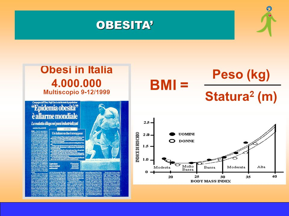 BMI = Peso (kg) Statura2 (m) OBESITA' Obesi in Italia