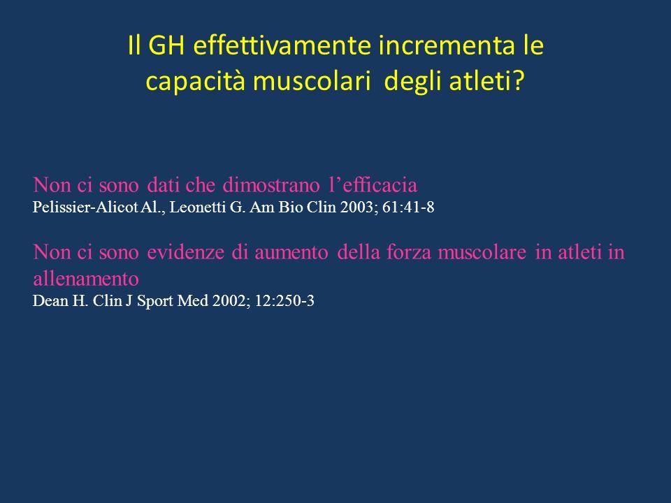 Il GH effettivamente incrementa le capacità muscolari degli atleti