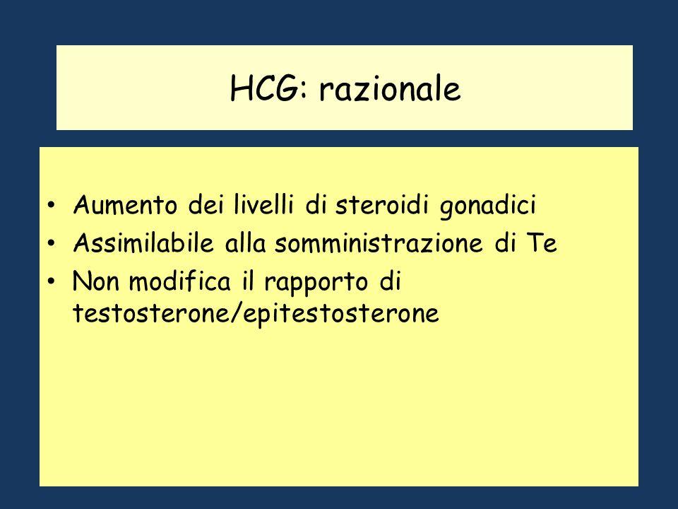 HCG: razionale Aumento dei livelli di steroidi gonadici