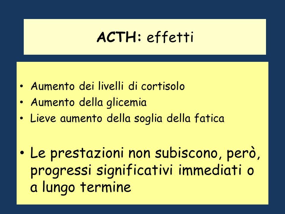 ACTH: effetti Aumento dei livelli di cortisolo. Aumento della glicemia. Lieve aumento della soglia della fatica.