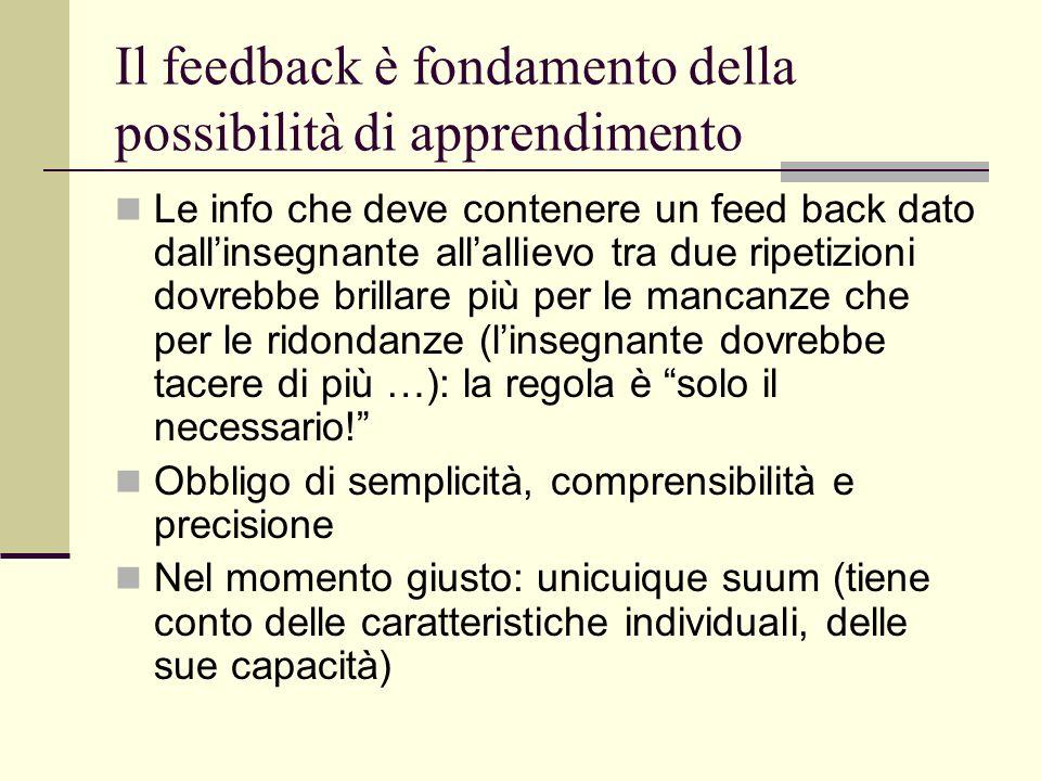 Il feedback è fondamento della possibilità di apprendimento