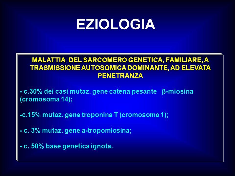 EZIOLOGIA MALATTIA DEL SARCOMERO GENETICA, FAMILIARE, A TRASMISSIONE AUTOSOMICA DOMINANTE, AD ELEVATA PENETRANZA.