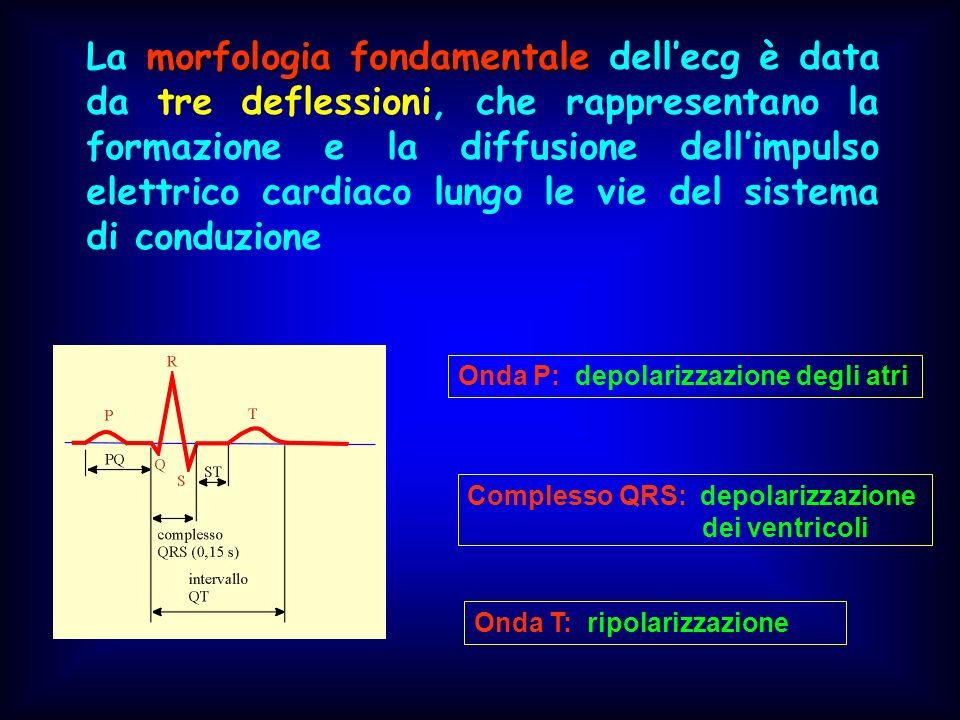 La morfologia fondamentale dell'ecg è data da tre deflessioni, che rappresentano la formazione e la diffusione dell'impulso elettrico cardiaco lungo le vie del sistema di conduzione