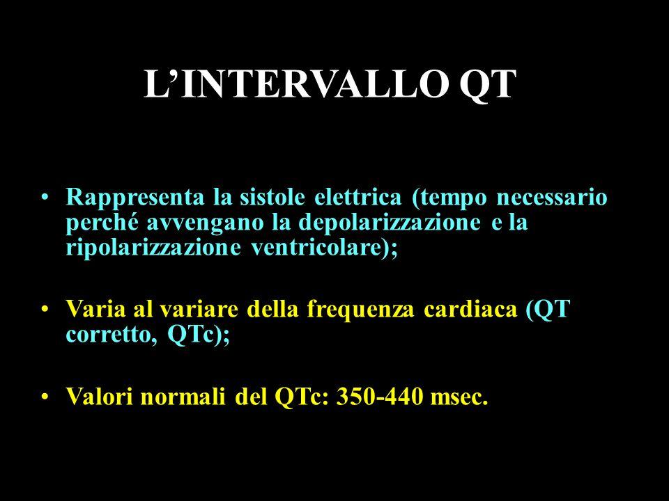 L'INTERVALLO QT Rappresenta la sistole elettrica (tempo necessario perché avvengano la depolarizzazione e la ripolarizzazione ventricolare);