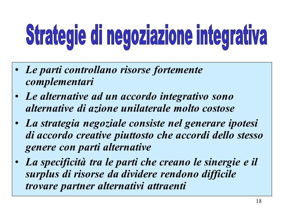 Strategie di negoziazione integrativa