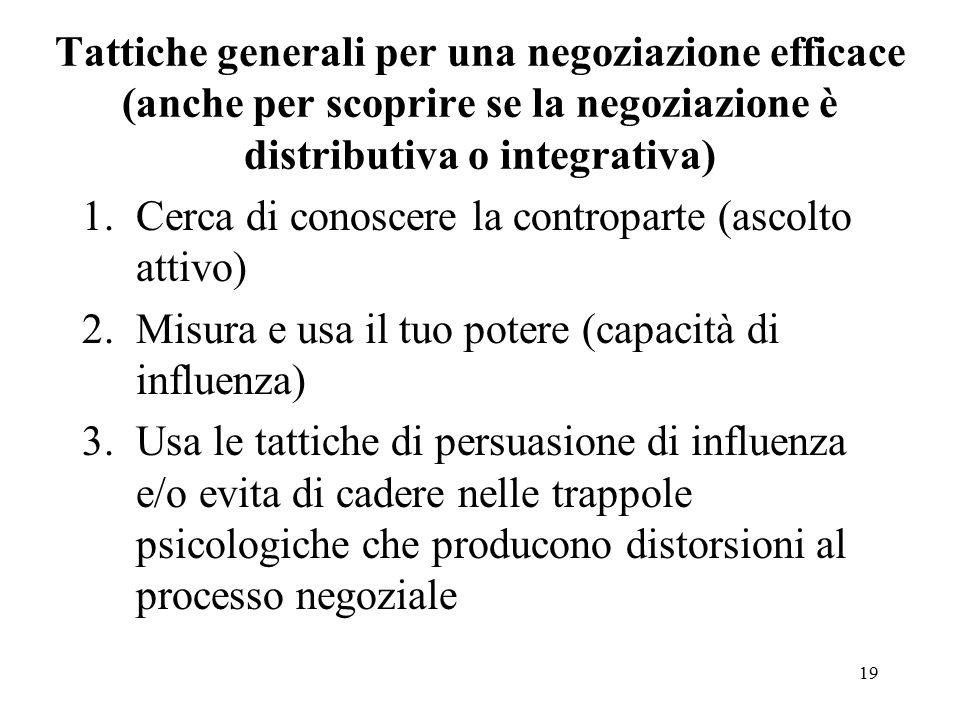 Tattiche generali per una negoziazione efficace (anche per scoprire se la negoziazione è distributiva o integrativa)
