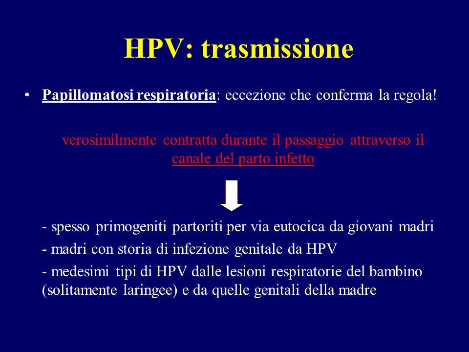 HPV: trasmissione Papillomatosi respiratoria: eccezione che conferma la regola!