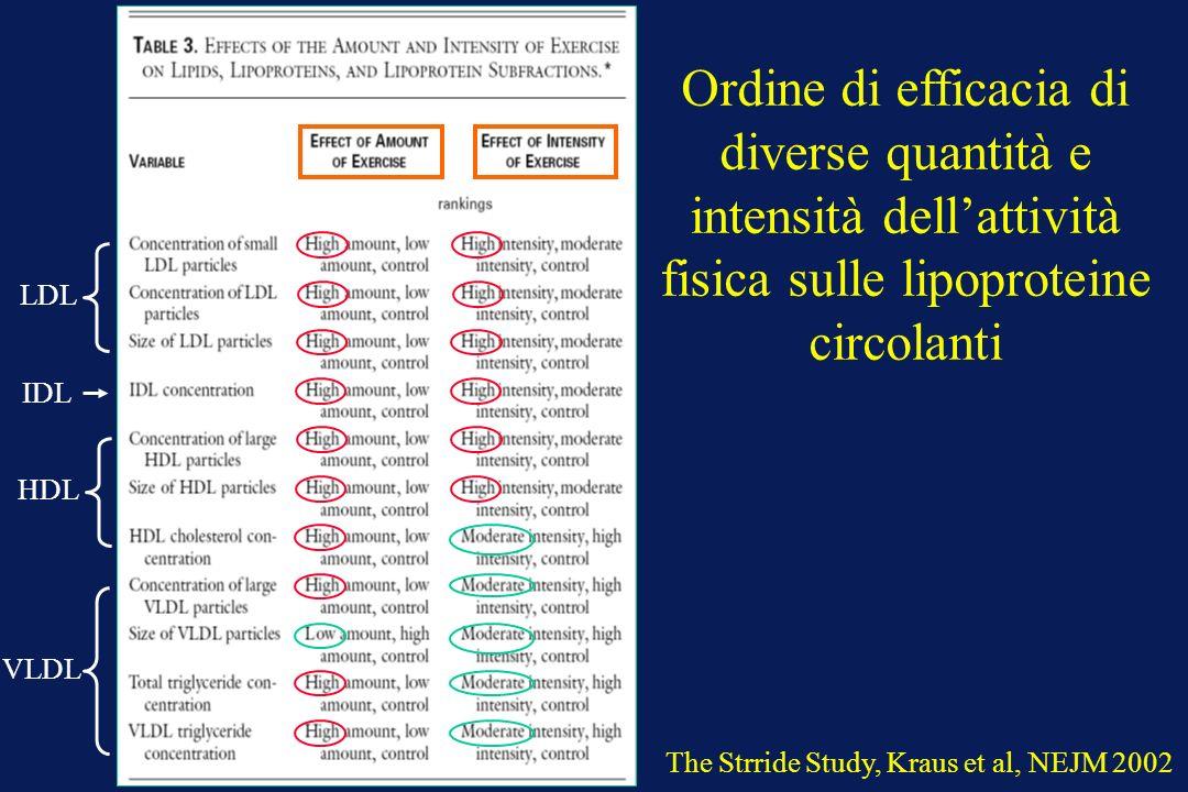 Ordine di efficacia di diverse quantità e intensità dell'attività fisica sulle lipoproteine circolanti