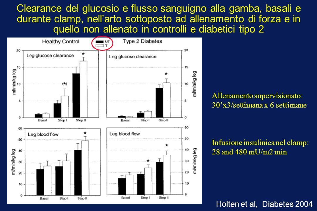 Clearance del glucosio e flusso sanguigno alla gamba, basali e durante clamp, nell'arto sottoposto ad allenamento di forza e in quello non allenato in controlli e diabetici tipo 2