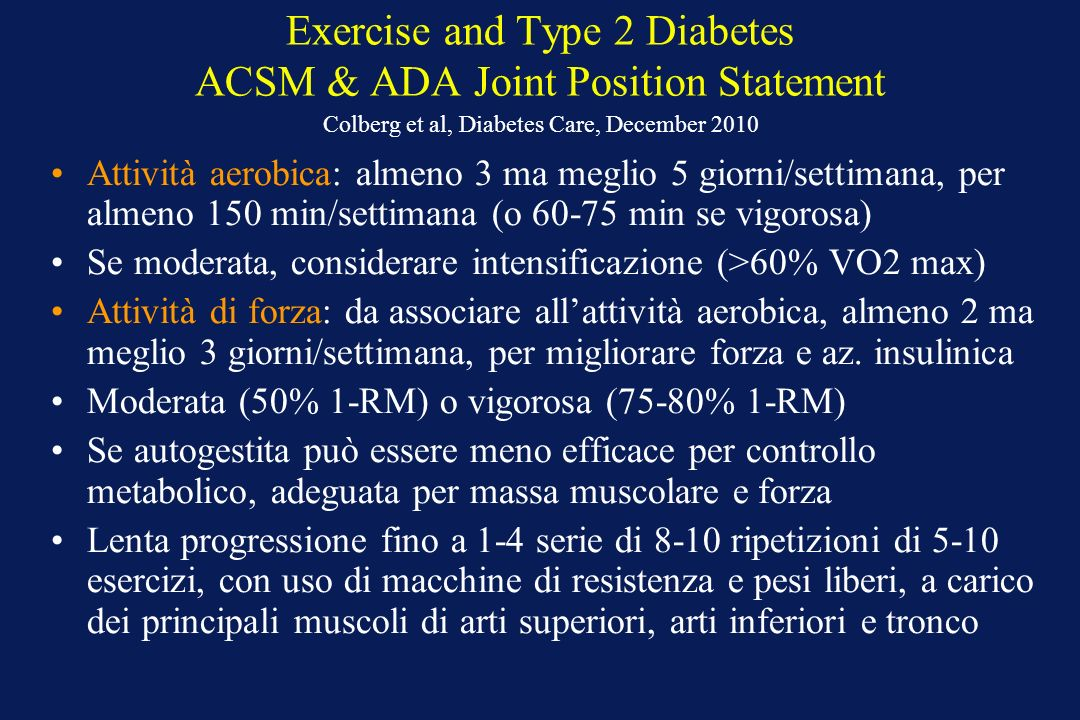 Exercise and Type 2 Diabetes ACSM & ADA Joint Position Statement