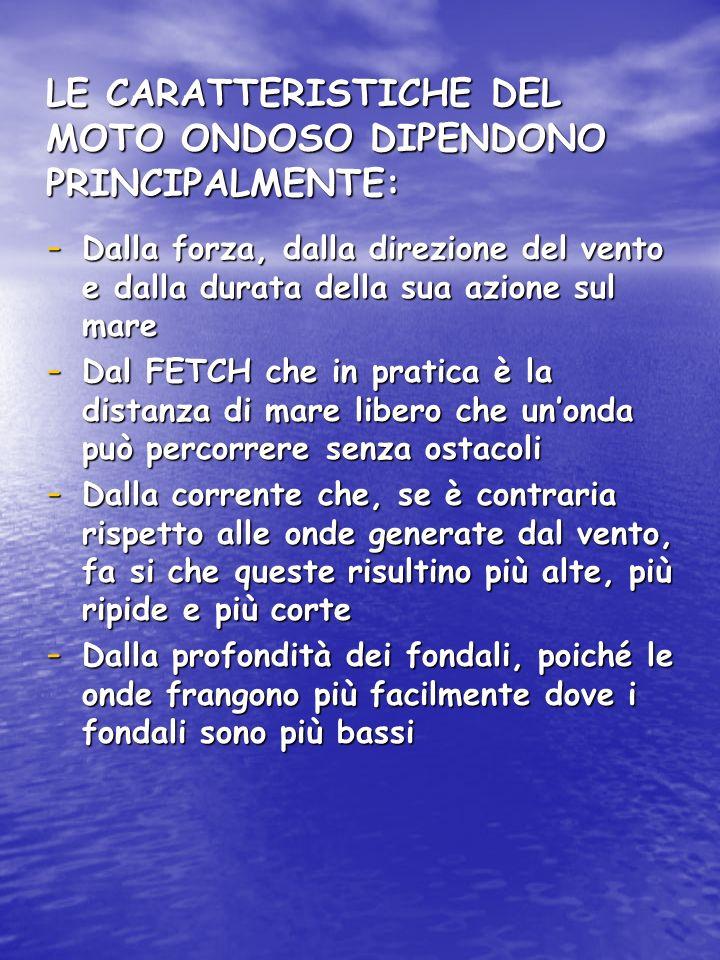 LE CARATTERISTICHE DEL MOTO ONDOSO DIPENDONO PRINCIPALMENTE: