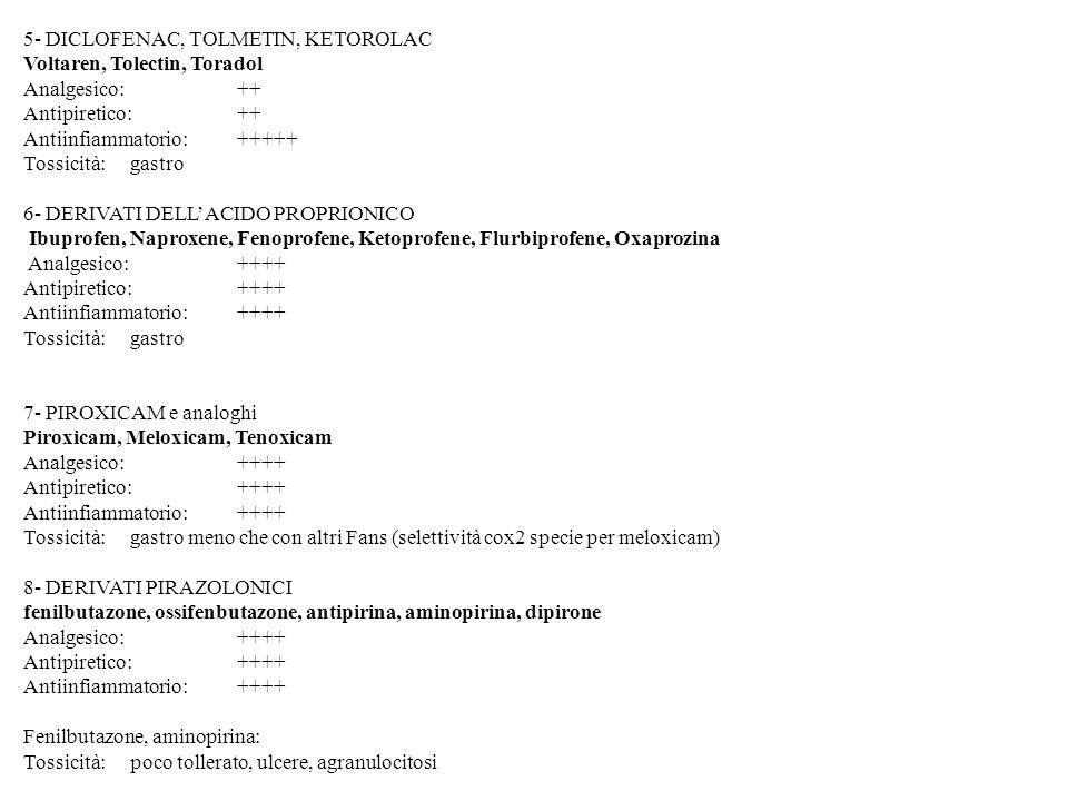 5- DICLOFENAC, TOLMETIN, KETOROLAC