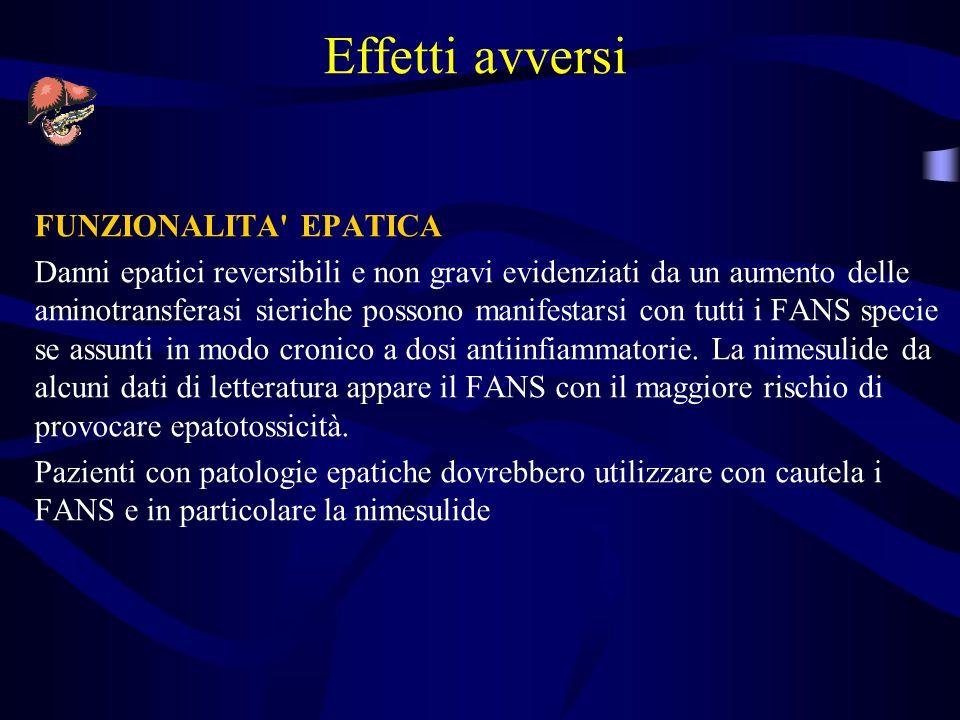 Effetti avversi FUNZIONALITA EPATICA