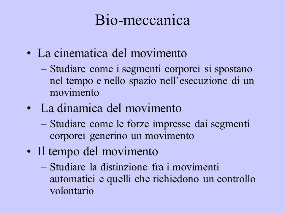 Bio-meccanica La cinematica del movimento La dinamica del movimento