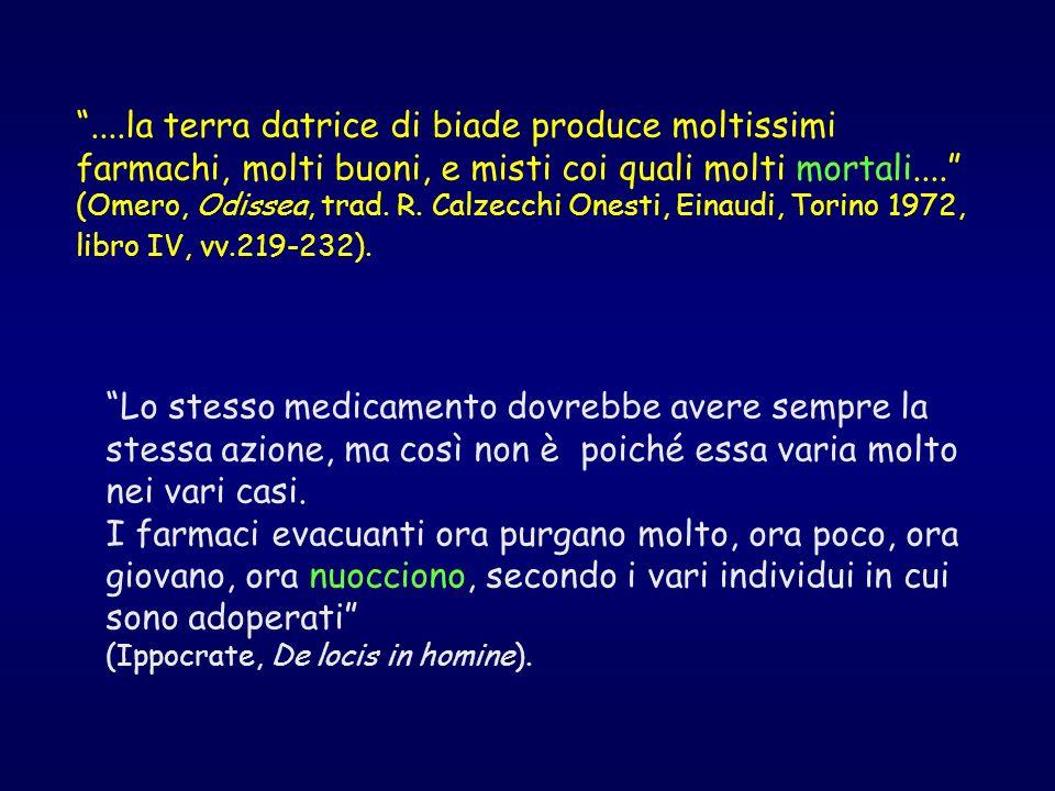 ....la terra datrice di biade produce moltissimi farmachi, molti buoni, e misti coi quali molti mortali.... (Omero, Odissea, trad. R. Calzecchi Onesti, Einaudi, Torino 1972, libro IV, vv.219-232).