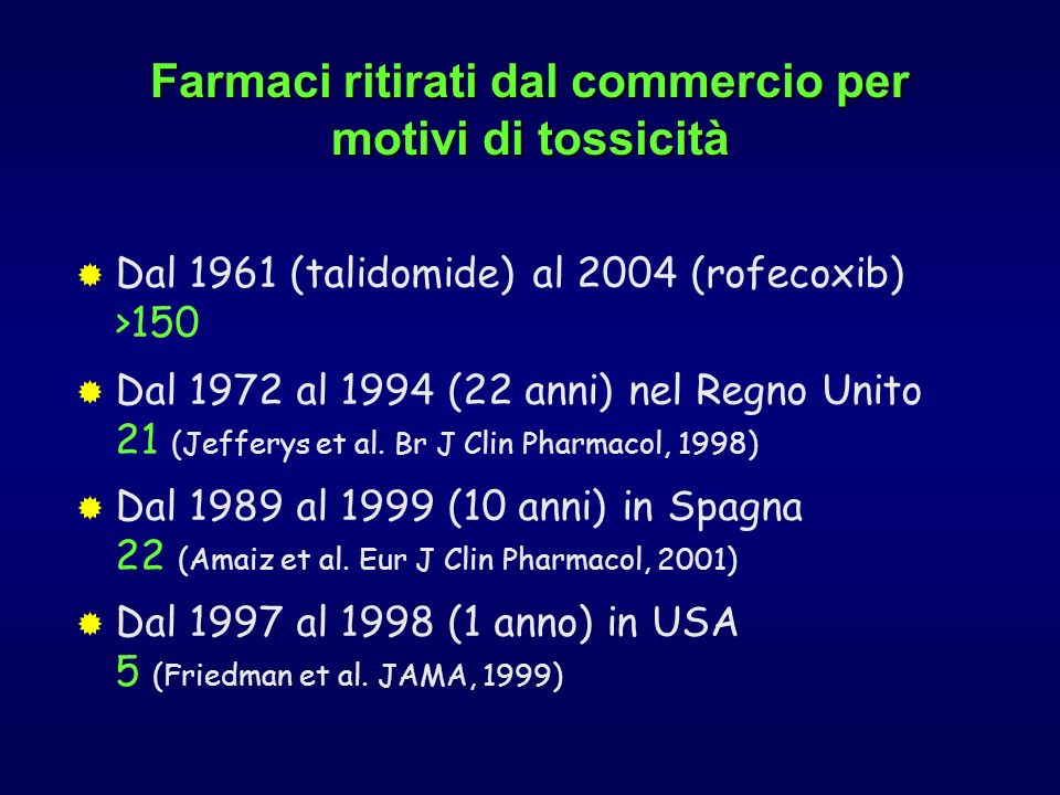 Farmaci ritirati dal commercio per motivi di tossicità