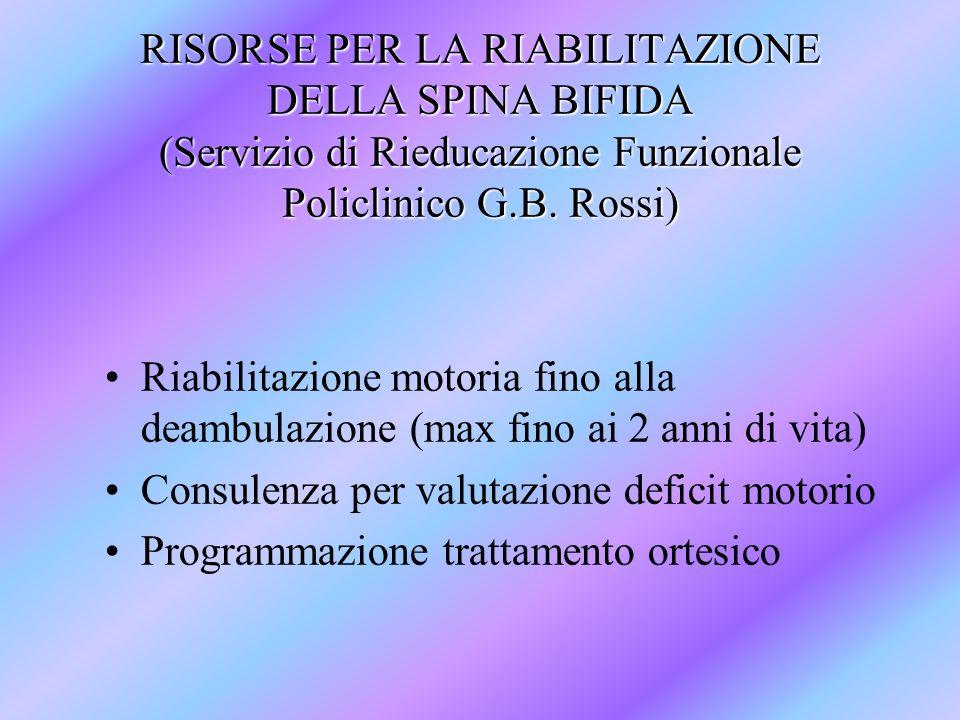 RISORSE PER LA RIABILITAZIONE DELLA SPINA BIFIDA (Servizio di Rieducazione Funzionale Policlinico G.B. Rossi)