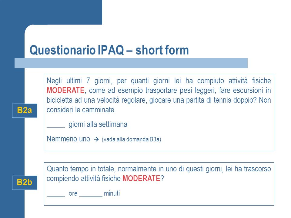 Questionario IPAQ – short form