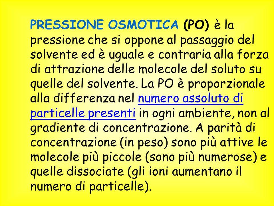 PRESSIONE OSMOTICA (PO) è la pressione che si oppone al passaggio del solvente ed è uguale e contraria alla forza di attrazione delle molecole del soluto su quelle del solvente.
