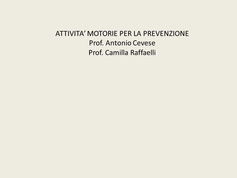 ATTIVITA' MOTORIE PER LA PREVENZIONE Prof. Antonio Cevese